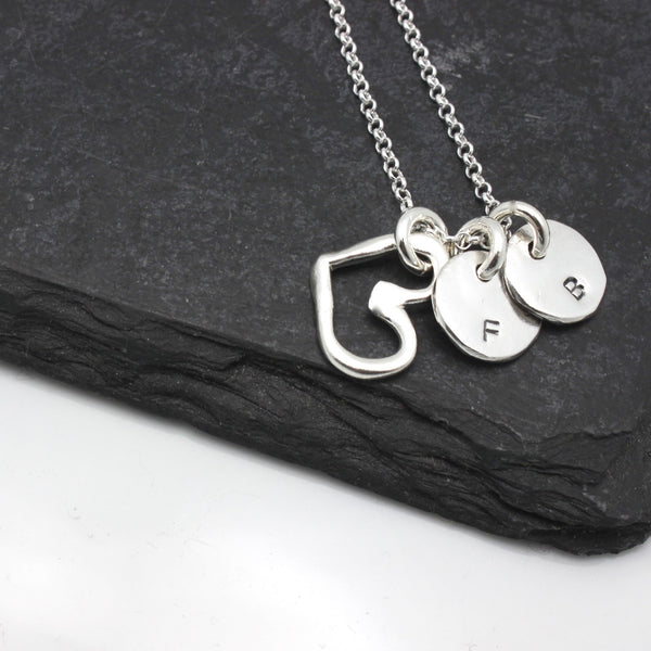 Silver Open Heart & Two Circle Pendants Personalized Necklace