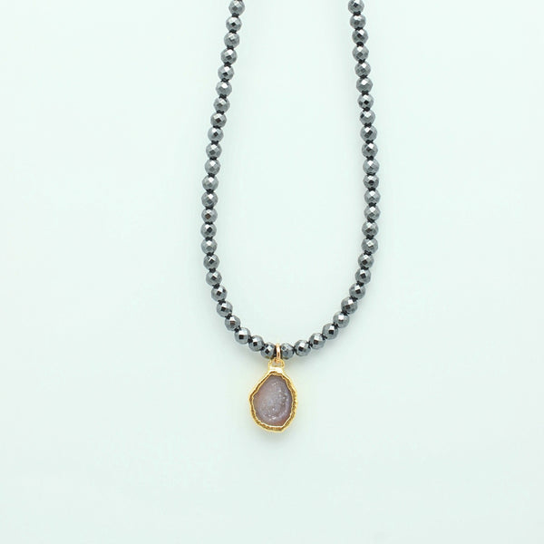 SCULPT Collection: Pyrite & Geode Pendant Choker - Grey Shadow - G7-16