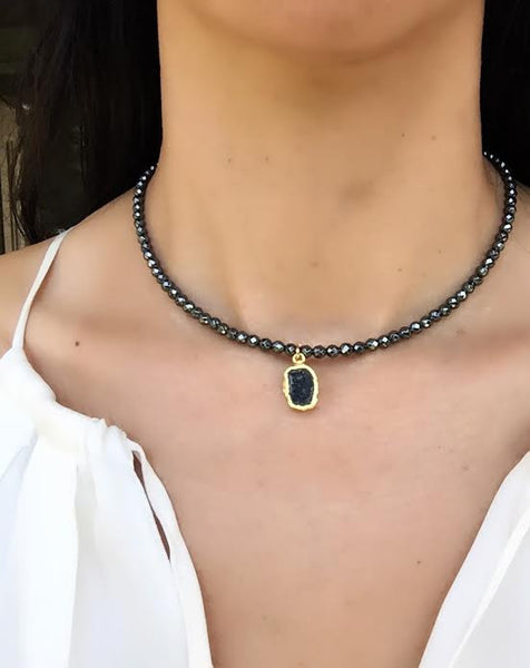 SCULPT Collection: Pyrite & Geode Pendant Choker - Black - B3-16