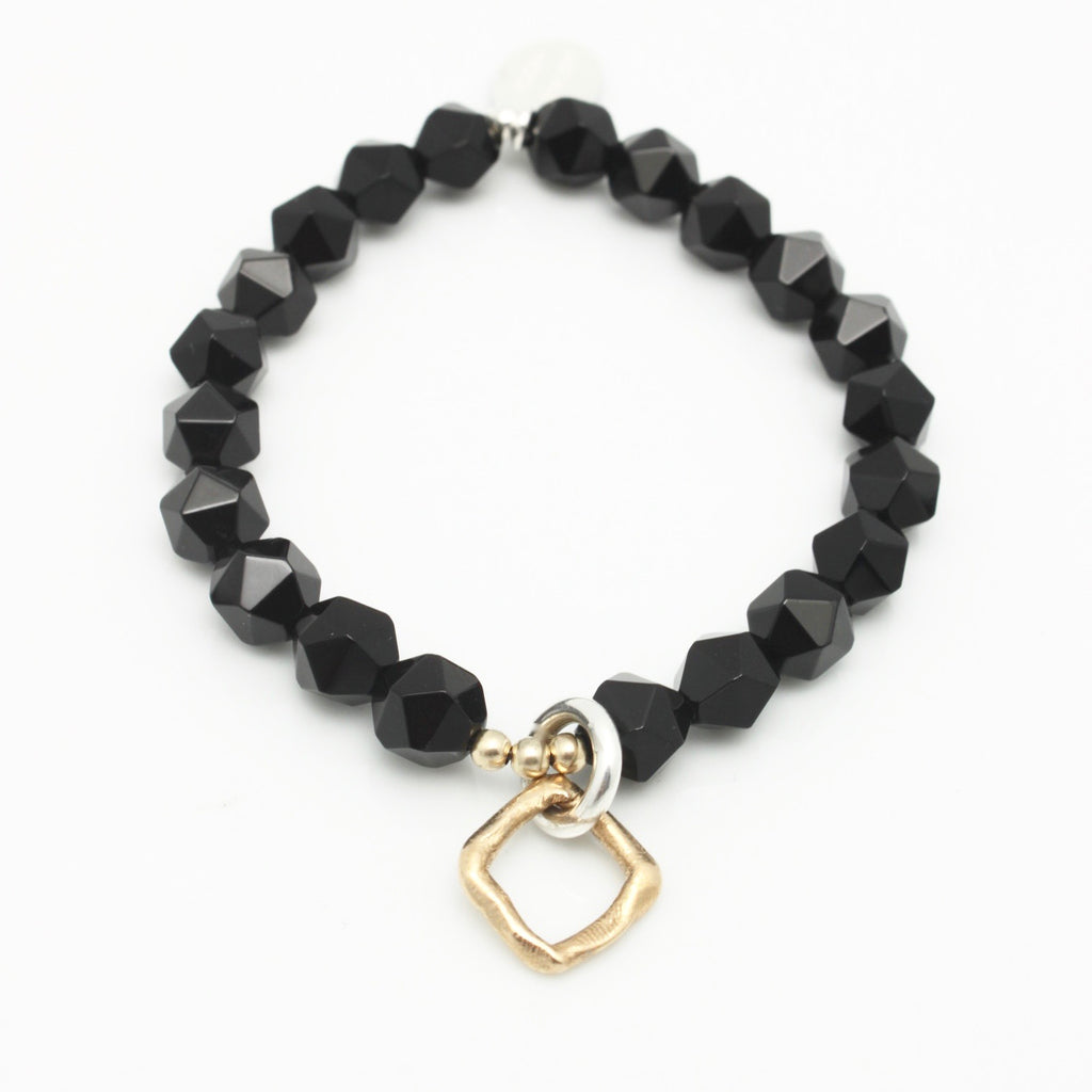 Contour Collection:  Black Onyx Starcut Stretch Bracelet with Bronze Square Link