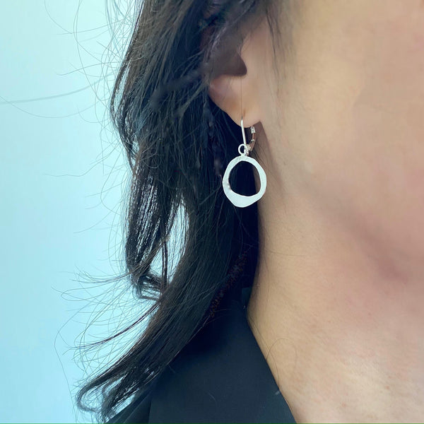 Curve Collection:  Halo Silver Earrings