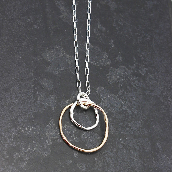 Links Collection:  Bronze & Fine silver Cloud Link Pendant Necklace - Long