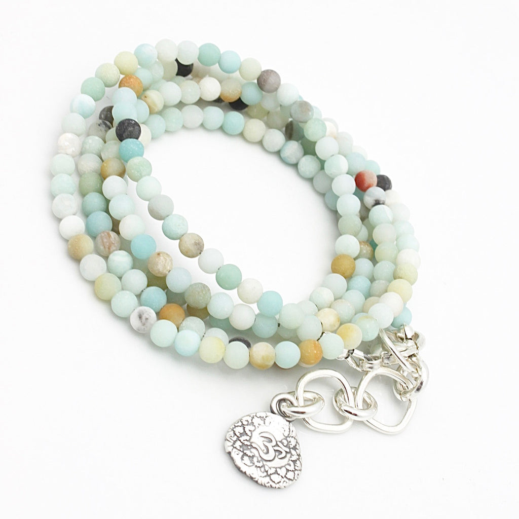 "Inner Spirit:  ""Om"" Amazonite Beaded Necklace or Wrap Bracelet"