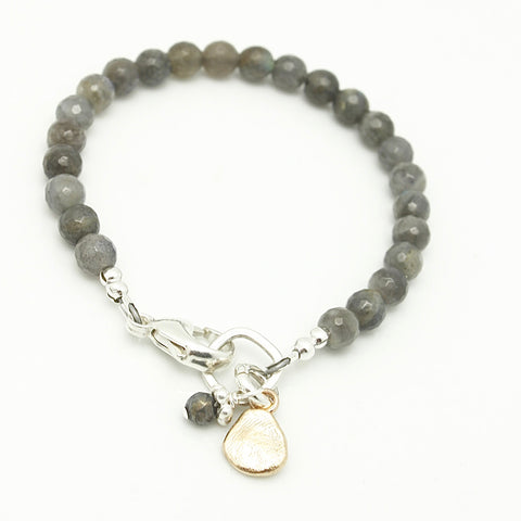 Molten Collection:  Labradorite & Bronze Pebble Clasp Bracelet