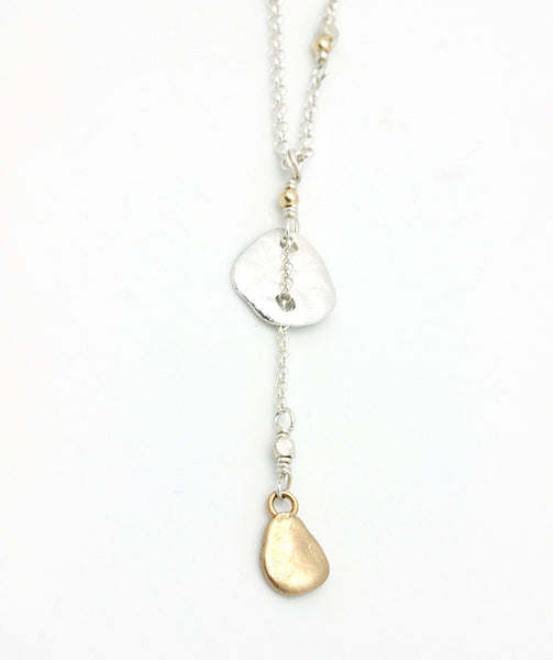 Molten Collection:  Mixed Metal Lariat Short Necklace