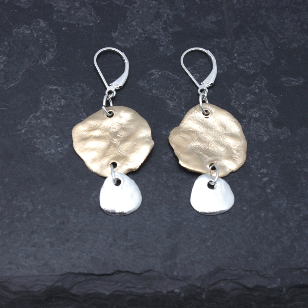 Molten Collection: Bold Bronze & Silver Molten Earrings