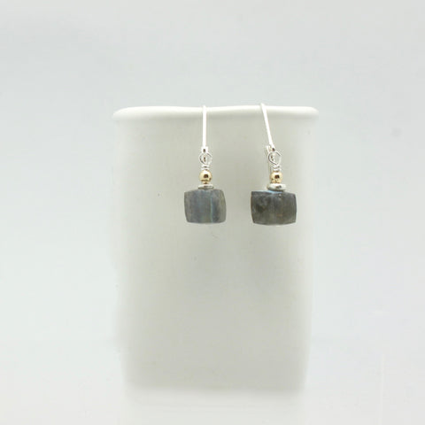 Molten Collection:  Labradorite Cube Earrings