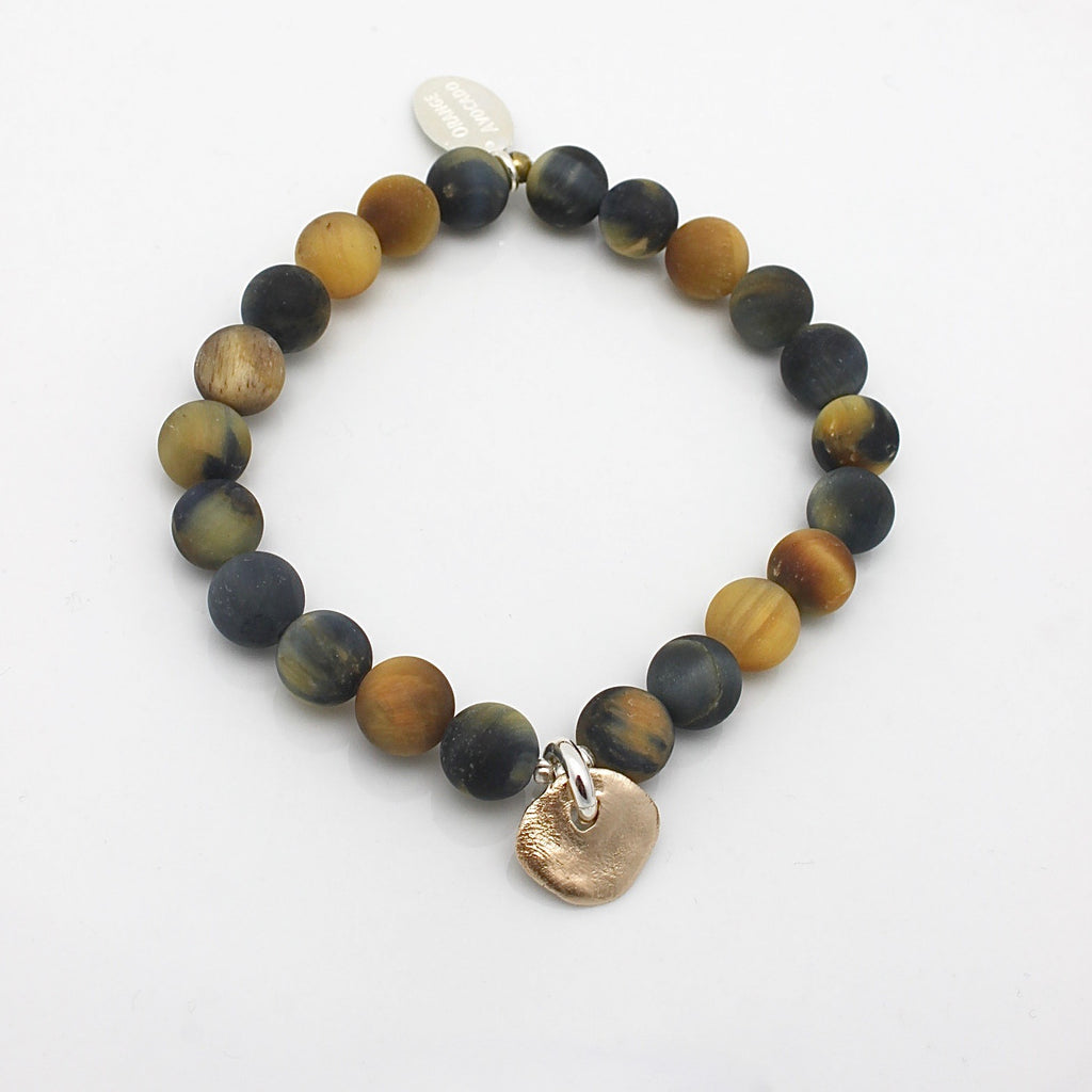 Molten Collection:  Tiger Eye Stone & Bronze Medallion