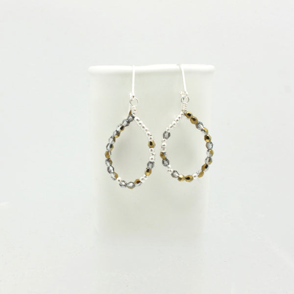 Ombre Grey/Gold Teardrop Earrings