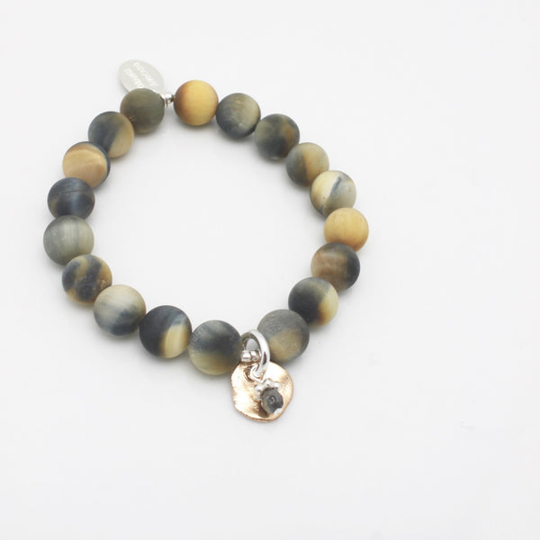 Molten Collection:  Tiger Eye Stone with Labradorite & Bronze Medallion Stretch Bracelet