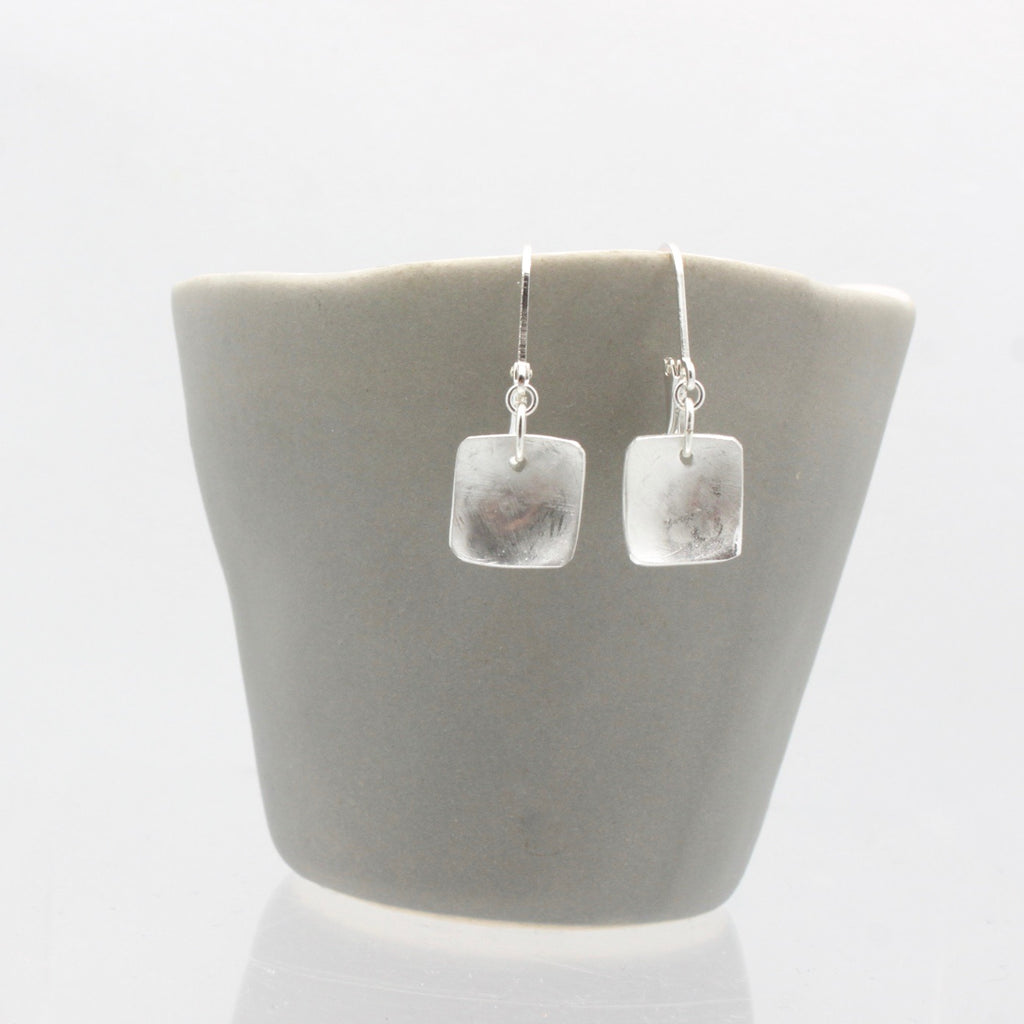 Matte Petite Square Silver Earrings