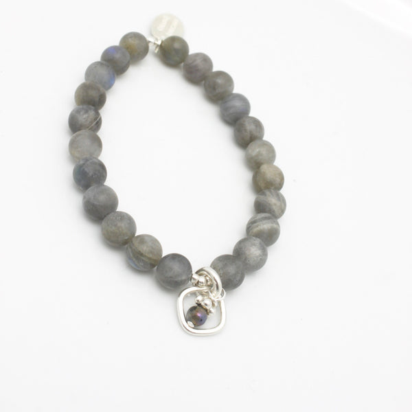 Molten Collection:  Matte Labradorite & Charm Stretch Bracelet