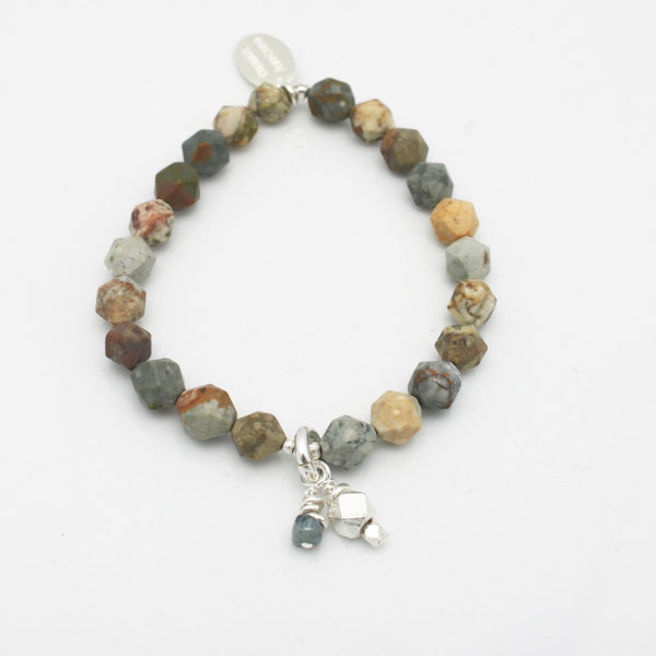 Molten Collection:  Jasper Butte Faceted Stone Stretch Bracelet & Fine Silver Charm