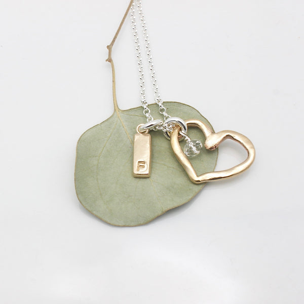 Bronze Heart & Initial Bar Necklace