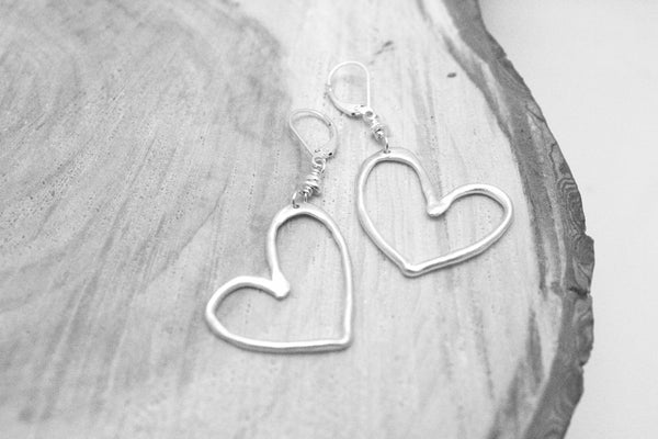 Heart Collection:  BIG Hearted Fine Silver Earrings