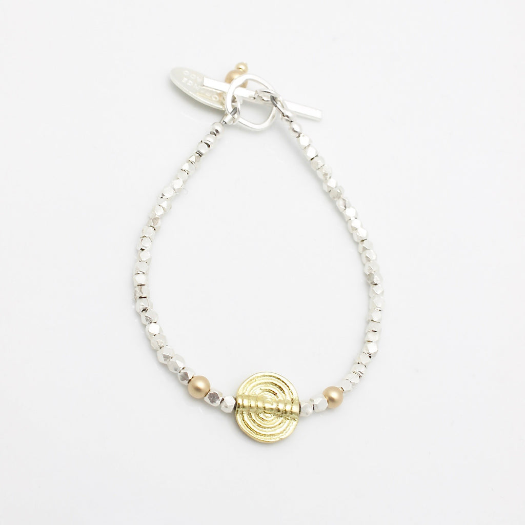 Athena Labyrinth Silver Beaded Bracelet