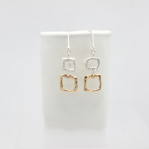 Contour Collection:  2 Silver Bronze Square Earrings