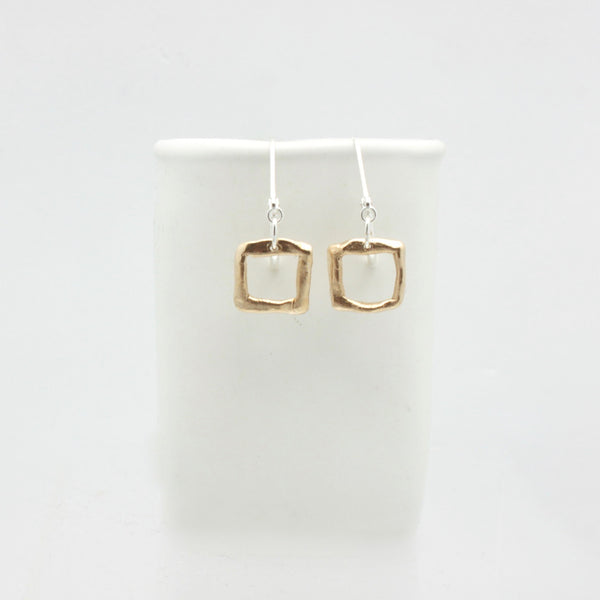 Contour Collection:  Square Bronze Earrings