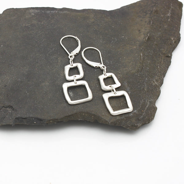 Contour Collection:  2 Silver Square Earrings
