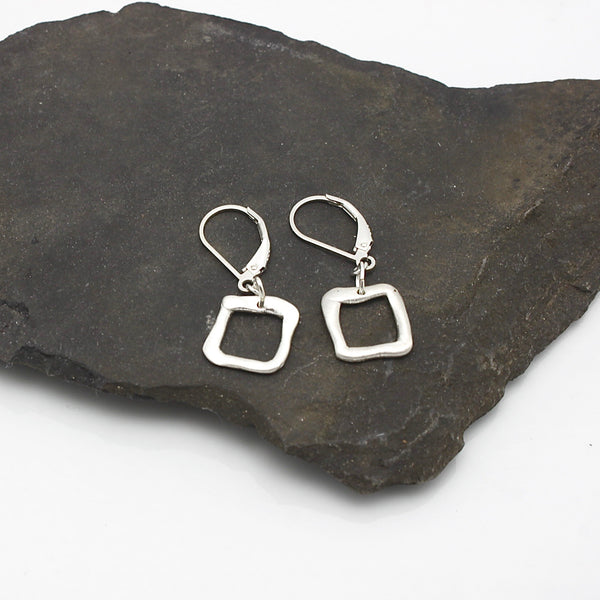 Contour Collection:  Square Silver Earrings