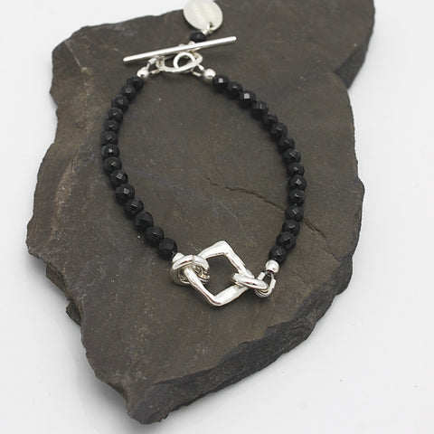 Contour Collection:  Silver Link & Onyx Stone Bracelet