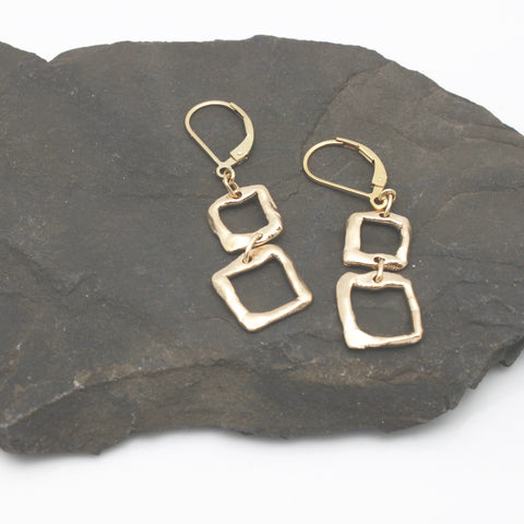 Contour Collection:  2 Square Bronze Earrings
