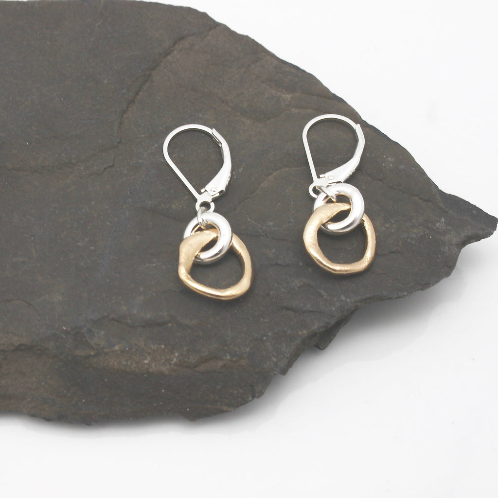 Contour Collection:  Petite Bronze Link Earrings