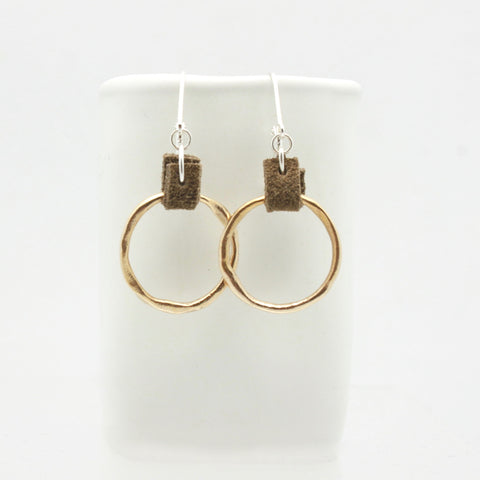 Bronze Hoops with Suede Detail