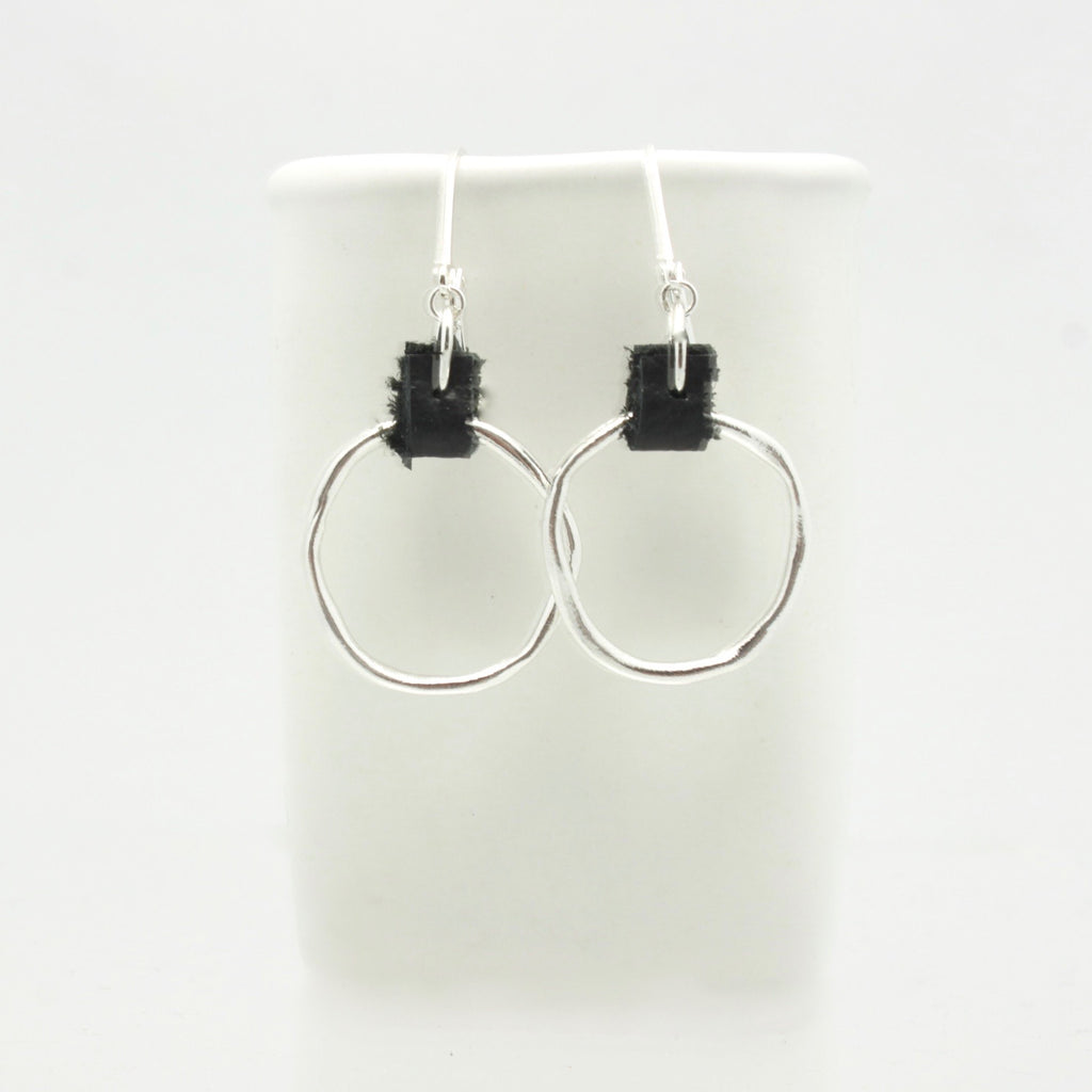 Fine Silver Hoops with Leather Detail