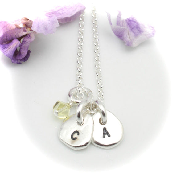 Freeform Fine Silver Initial Pendant Necklace