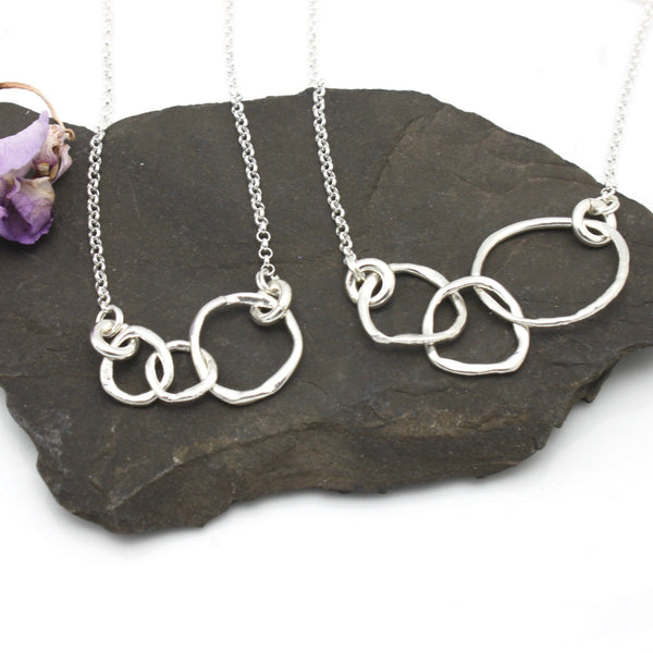 Mother 2 Daughters Necklace - Petite Silver Links