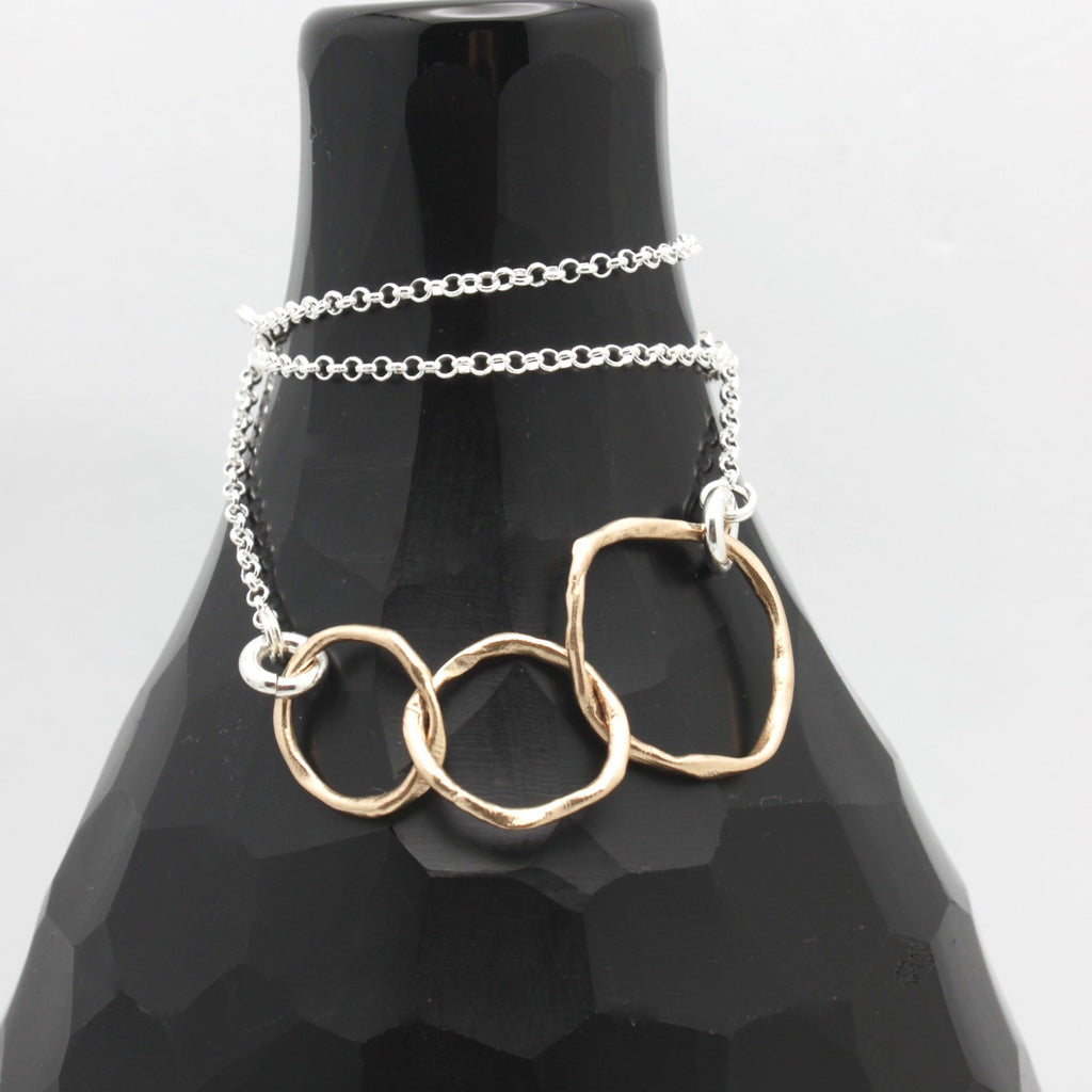 Mother 2 Daughters Necklace - Bold Bronze Links