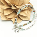 Lava Form Collection:  Amazonite Double Wrap Bracelet
