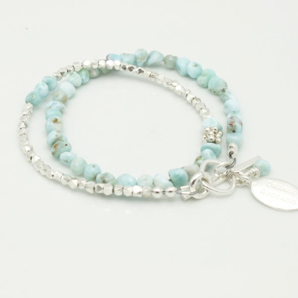 Lava Form Collection:  ULI Larimar Double Wrap Bracelet