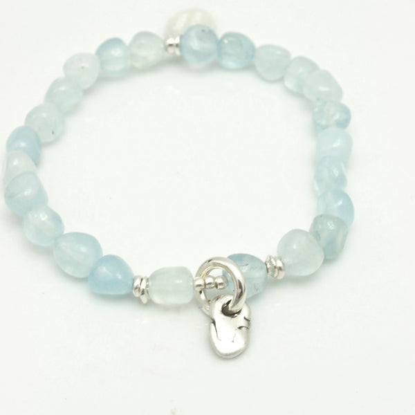 Lava Form Collection:  Wai Aquamarine Nugget Stretch Bracelet