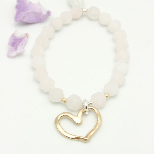Heart Collection:  Rose Quartz & Bronze Open Heart Stretch Bracelet
