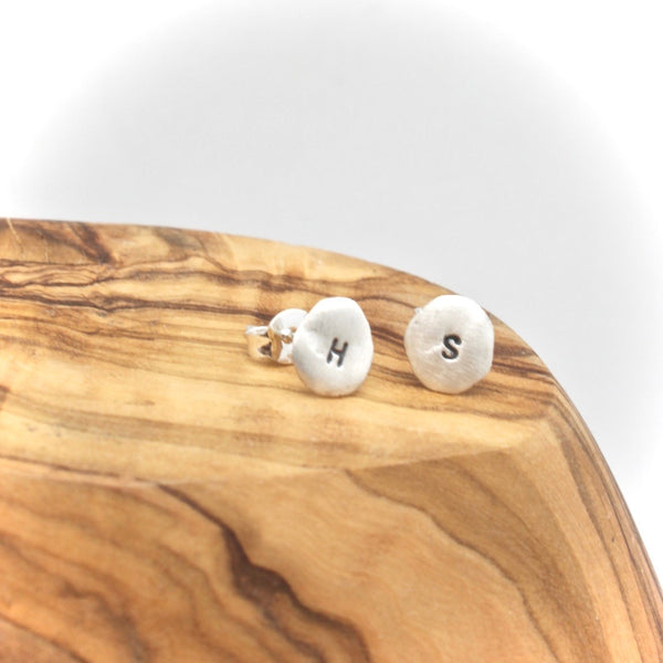 Personalized Freeform Silver Circle Studs