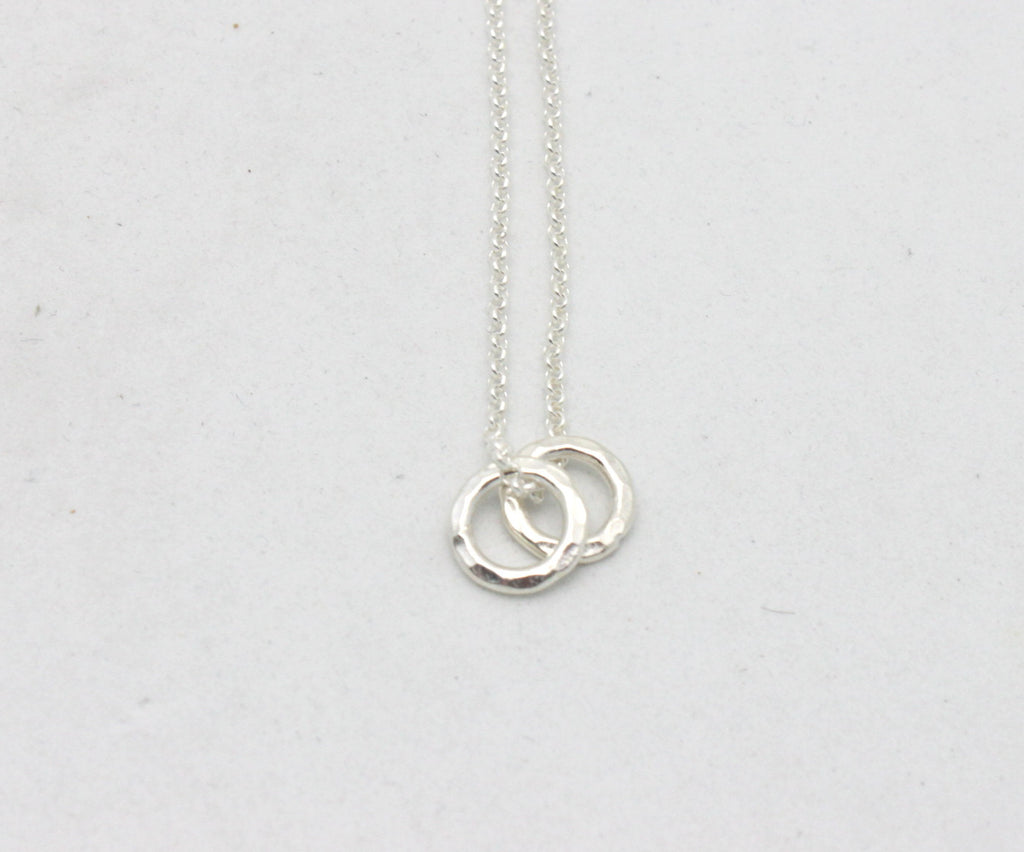 Fine Silver Double Ring Necklace