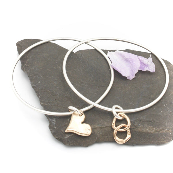 Sterling Silver Bangle with Bronze Charm