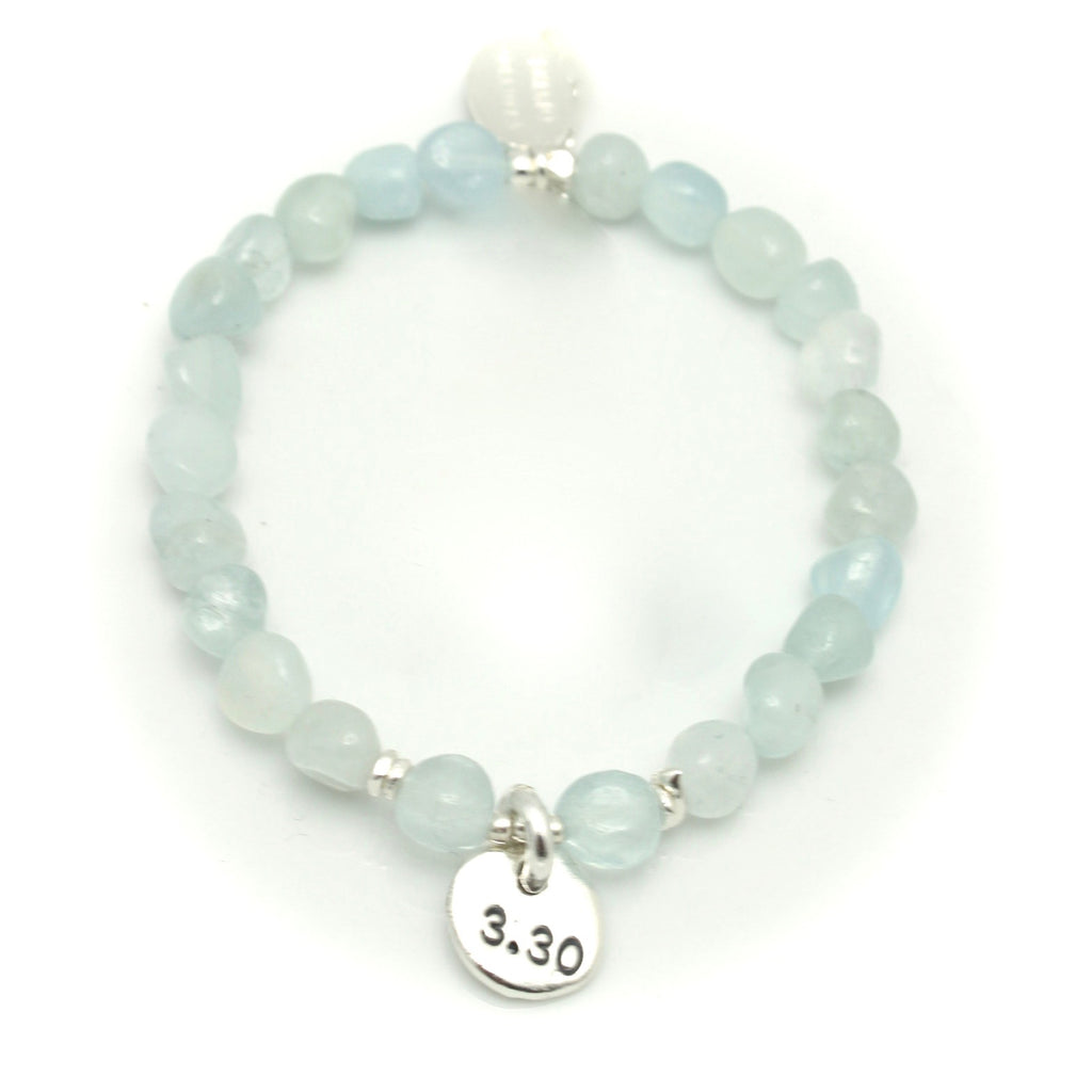 Personalized Aquamarine Nugget & Fine Silver Pendant Stretch Bracelet