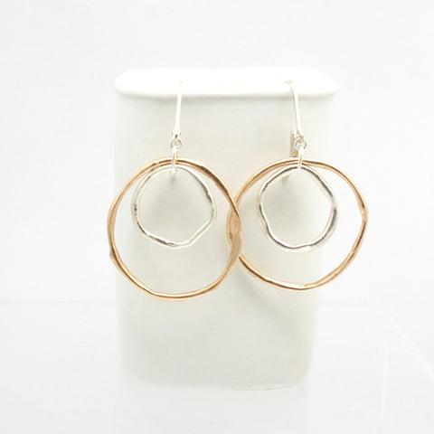 LINKS Collection - Bronze & Fine Silver Large Layered Cloud Link Earrings
