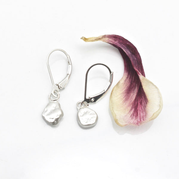 One of a Kind: Freeform Fine Silver Nugget Earrings No. 1
