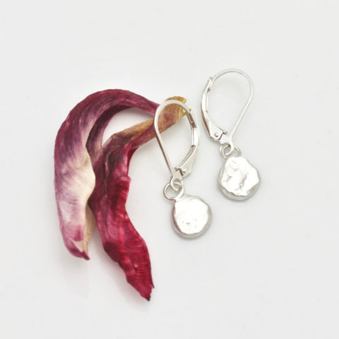 One of a Kind:  Freeform Fine Silver Nugget Earrings No. 2