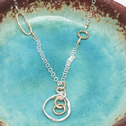 Entwined Bronze & Silver Pendant Long Necklace