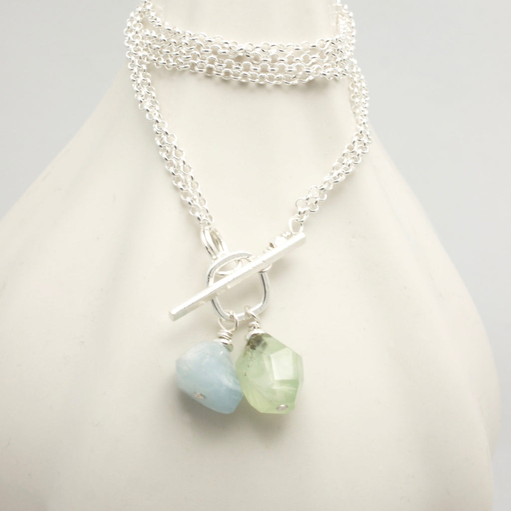 Lava Form Collection:  Aquamarine & Prehnite Necklace with 2 in 1 Chain