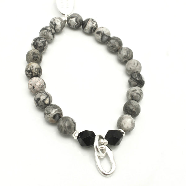 Curve Collection:  Snakeskin Stone & Fine Silver Stretch Bracelet