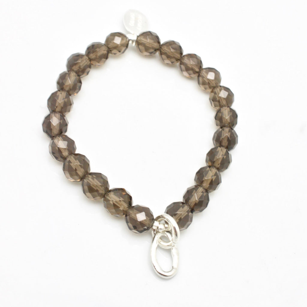 Curve Collection:  Smokey Quartz & Fine Silver Curve Stretch Bracelet