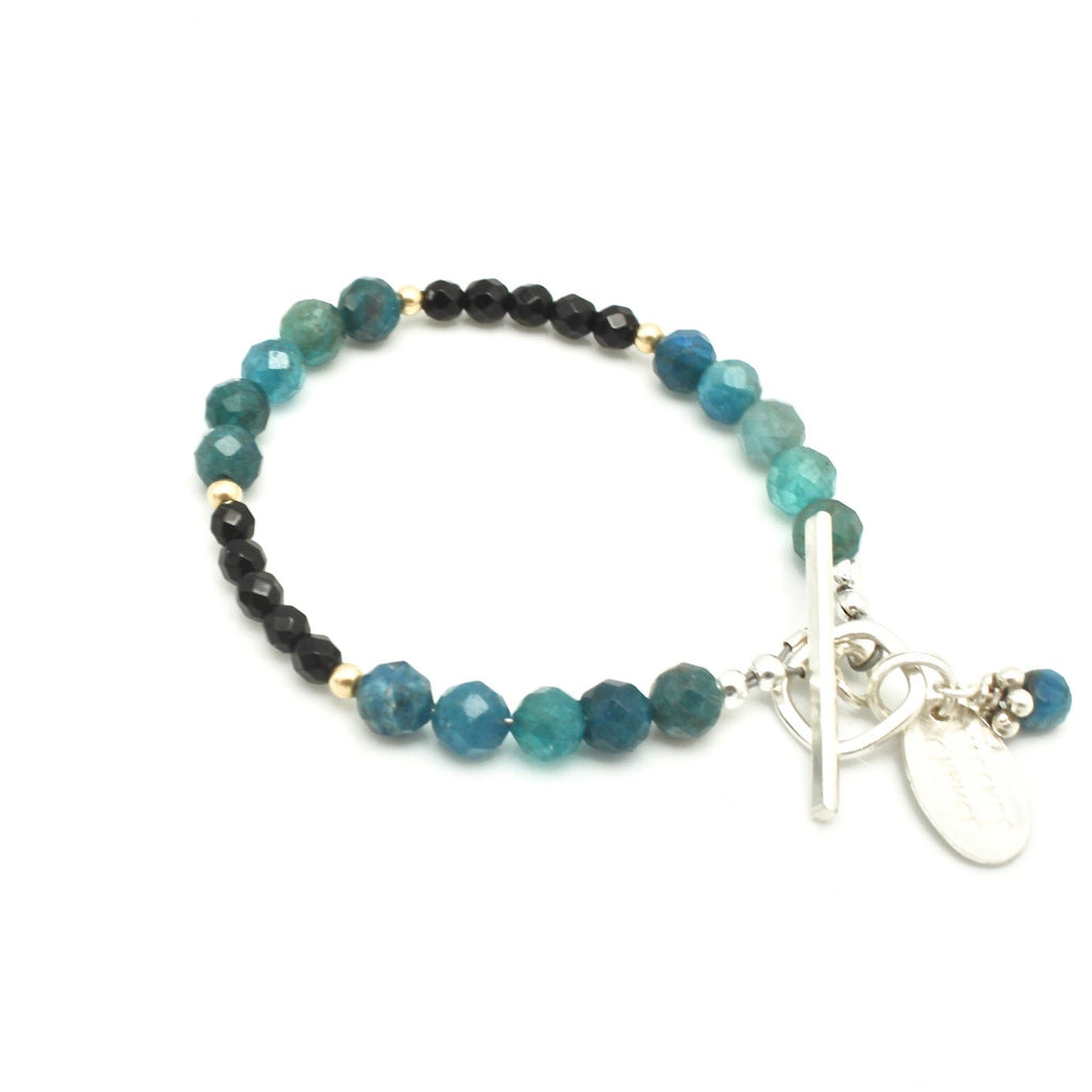 Curve Collection: Apatite & Onyx Toggle Bracelet