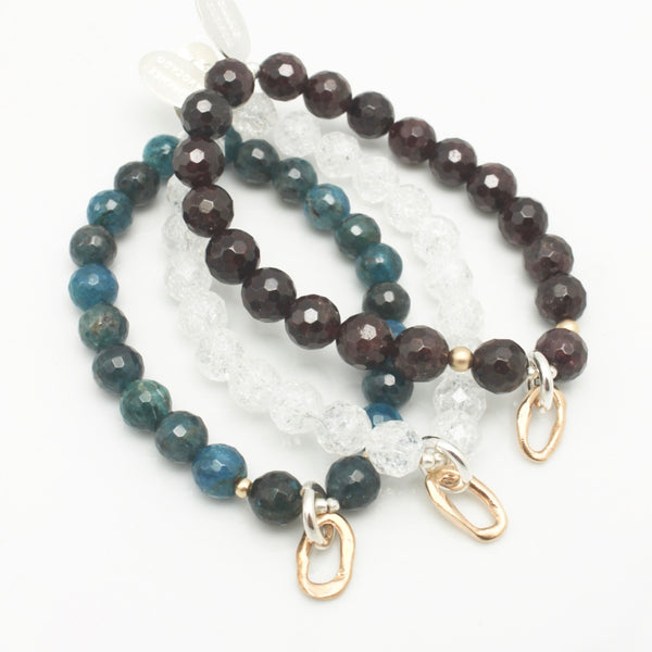 Curve Collection:  Apatite & Bronze Curve Pendant Stretch Bracelet