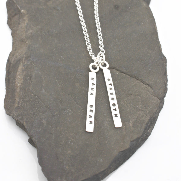 2 SHORT BARS - 3mm Sterling Silver Vertical Pendant Necklace
